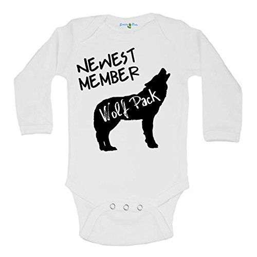 Snappy Suits Newest Member of The Wolfpack Cute Baby One Piece Suit Romper (0-3 Months, B) Long Sleeve -