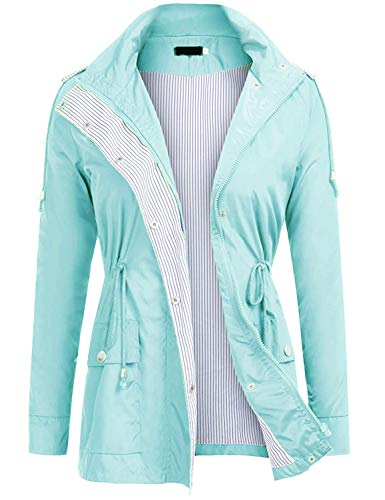 UUANG Women's Waterproof Raincoat Outdoor Hooded Rain Jacket Windbreaker (Mint Green,M) ()