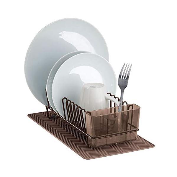 41kULjkWSCL mDesign Abtropfgestell aus Metall – mit Besteckkorb aus Kunststoff und kleiner Abtropfmatte aus Silikon – Besteck…
