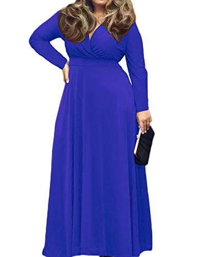 POSESHE Women's Solid V-Neck Long Sleeve Plus Size Evening Party Maxi Dress Royal Blue 3XL (Glam Maternity Tie)