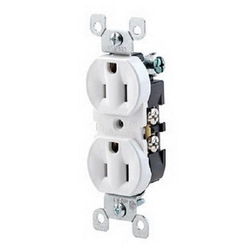 (Leviton 5320-WCP 15 Amp, 125 Volt, Duplex Receptacle, Residential Grade, Grounding, All Screws Backed Out, Contractor Pack, White)