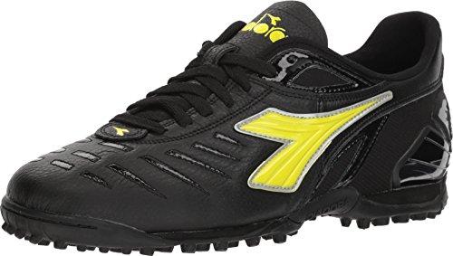 Diadora Maracana 18 TF Men's Turf Soccer Shoe (9.5, Black/Fluo Yellow) (Diadora Soccer Cleats Turf)