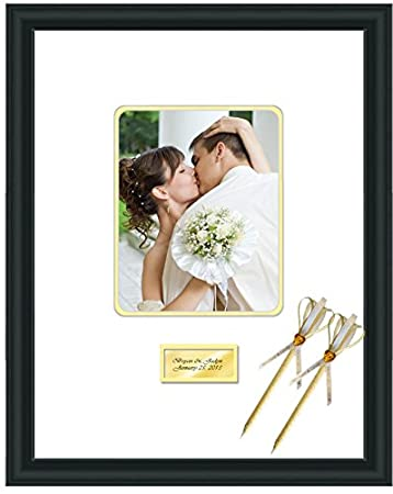 Engraved Wedding Signature Frame 16x20 Photo Matted Frames Retirement Anniversary Weddings Guest Book Baby Shower 8x10 Photo Satin Matte Black Wood