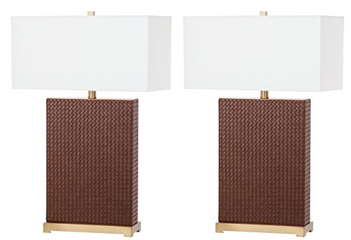 Safavieh Lighting Collection Joyce Brown and Gold Faux Woven Leather 27.75-inch Table Lamp (Set of 2) (Leather Table Lamp Brown)