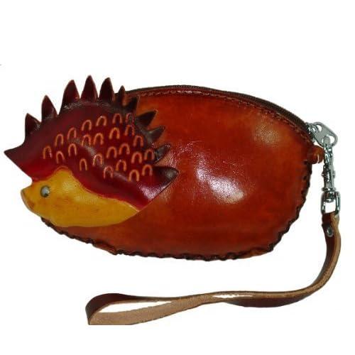 Genuine Leather Min Wristlet Purse, Baby Hedgehog Shape, Brown. Handmade & Unique