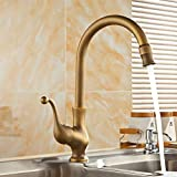 FZHLR Antique Brass Finish Kitchen Faucet Single Handle Hot And Cold Water Kitchen Sink Taps Basin Mixer 360 Degree Swivel