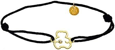Pooh y diamante–pulsera cordón negro–oro amarillo 9quilates–www.diamants-perles.com