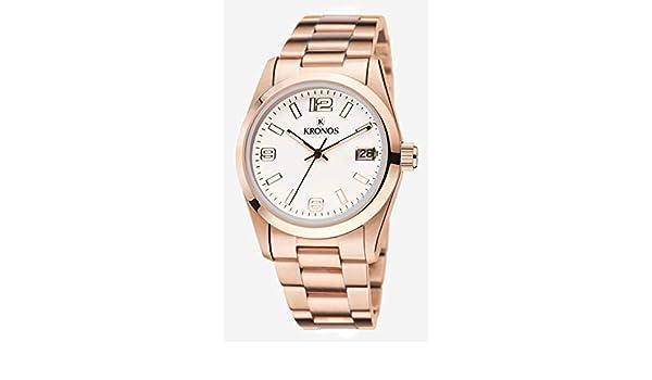 Kronos - Elegance Rose 968.9.34 - Reloj Unisex de Cuarzo, Brazalete de Acero, Color Esfera: Blanca: Amazon.es: Relojes