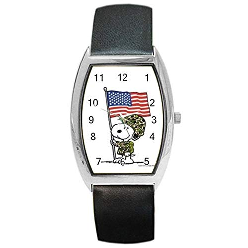 (Snoopy The Peanuts Military Memorial Day American Flag Wristwatch For Men Women Kids Boys Girls Students Great For Gifts Barrel Style Metal Watch)