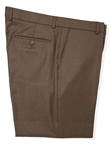 - Ballin Men's Soho Modern Fit Wool-Cashmere Flannel Flat Front Dress Pant (Brandy, 38)