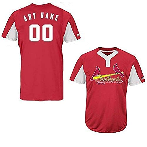 Custom Adult 2XL St. Louis Cardinals 2-Button Placket Cool-Base MLB Licensed Jersey