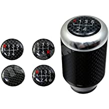 ICBEAMER Aluminum with Real Carbon Fiber Manual Stick Sifter Gear Lever Shift Knob 5 6 Speed pattern [Color Silver]