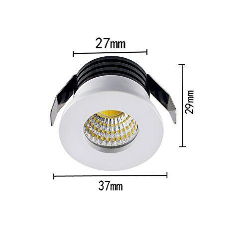 Elitlife 5Pack- 3W COB LED Mini Recessed Ceiling Downlight Kit 3000K Silver Aluminum Cover & Acrylic Mirror With LED Driver- ideal forliving room, bedroom,hallway,kitchen,office (Warm White) by Elitlife (Image #1)
