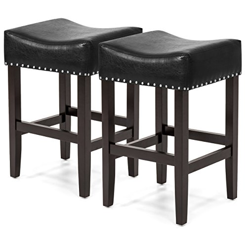 Best Choice Products Set of 2 Backless Faux Leather Upholstered 26in Counter Stools w/ Silver Nailhead Trim - Black (Backless Inch Counter 26 Stools)