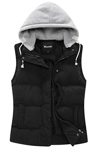 - Wantdo Women's Quilted Padded Vest with Removable Hood US Large Black