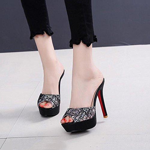 DALL Escarpins Plate-forme Imperméable Chaussures Pour Femmes Talons Hauts Pantoufles Sandales Chaussures De Plage Bouche Poisson 11cm De Haut (Couleur : Noir, taille : EU 35/UK 3.5/CN 35) Noir