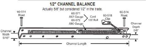 "CRL 14/"" Window Channel Balance; 1340 or 13D"