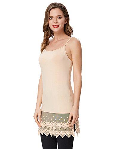 Women's Nude Lace Slip Top Extender Camisole Kate Tank Kasin Spaghetti Dress 5nqwxvTUC
