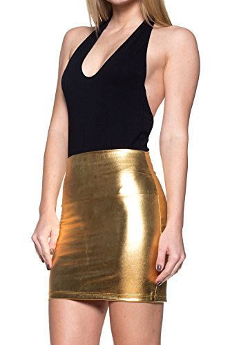 Gold Metalic Skirt (J2 LOVE Made in USA Faux Leather Mini)