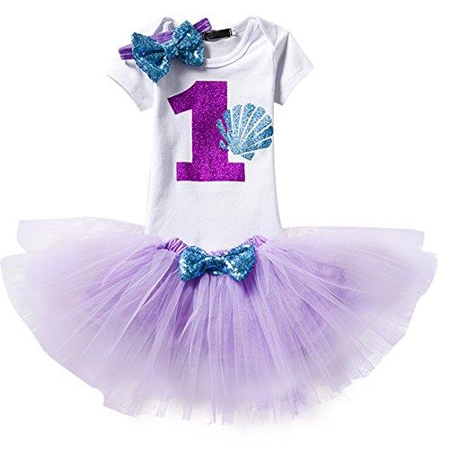 Baby Girl It's My 1st Birthday 3Pcs Outfits Skirt Set Romper+Tutu Dress+Headband Cake Smash Crown Bodysuit Clothes Jumpsuit Purple(1 Year) One Size -