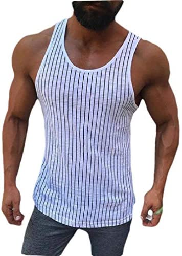 Candiyer Men Crew Neck Stripe Athletic Casual Loose Slim Tank Top T-shirt
