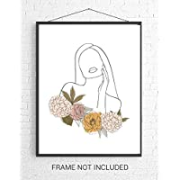 Line Art Female with Flowers Wall Art. 11x14 UNFRAMED Print. Abstract, Minimalist, Nordic, Modern Wall Decor for the Home. Black, White, Pink, Purple, Gold,Green.