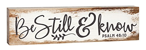 Know I Am God - P. Graham Dunn Be Still Know I Am God Script Design White Wash 2 x 6 Inch Solid Pine Wood Paul Bunyan Toothpick Sign