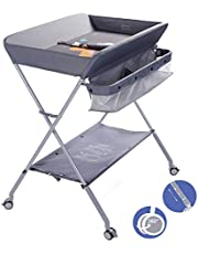 EGREE Baby Changing Table Portable Folding Diaper ChangingStation with Wheels, Adjustable Height Mobile Nursery Organizer with Safety Belt and Large Storage Racks for Newborn Baby and Infant, Gray