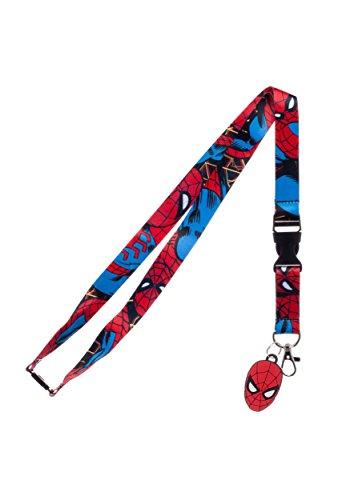 (Bioworld Marvel Spider-Man Lanyard,Red/Blue,Standard)