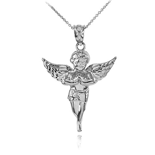 High Polish 925 Sterling Silver Angel Charm Pendant Necklace, 22
