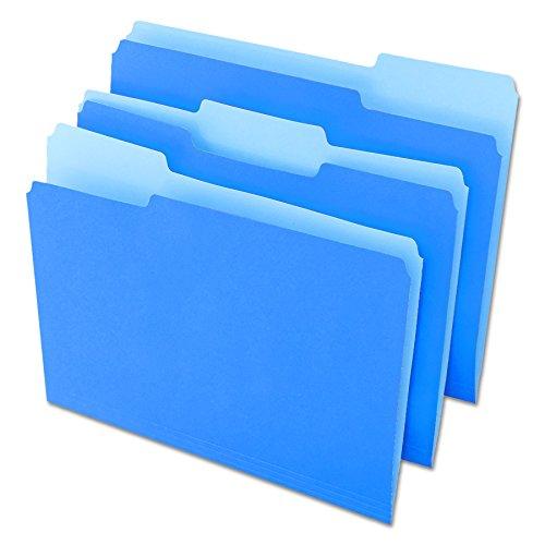 Pt 1 Ply 1/3 Cut - Universal 10501 File Folders, 1/3 Cut One-Ply Top Tab, Letter, Blue/Light Blue (Box of 100)