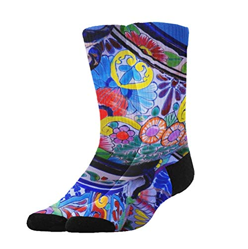 COLOMAKE Novel Beautiful Bowl Colorful Pottery Prints Stockings Long Dress Socks Unisex Quote Football Comfortable Breathable Over-The-Calf Tube