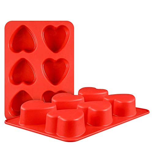 Heart Mould - QELEG 2 Pcs Heart Love Silicone Molds for Soap,Clay,Mousse Cake,Cheesecake,Bread,Loaf,Muffin, Bakeware Mould Baking (Heart)