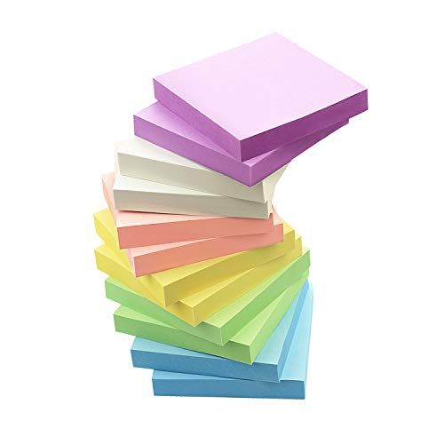 Early Buy 6 Candy Color Sticky Notes Self-Stick Notes 3 in x 3 in, 100 Sheets/Pad, 12 Pads/Pack in Box