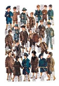 Little Boys Modeling Garments Fine Art Canvas Print (20