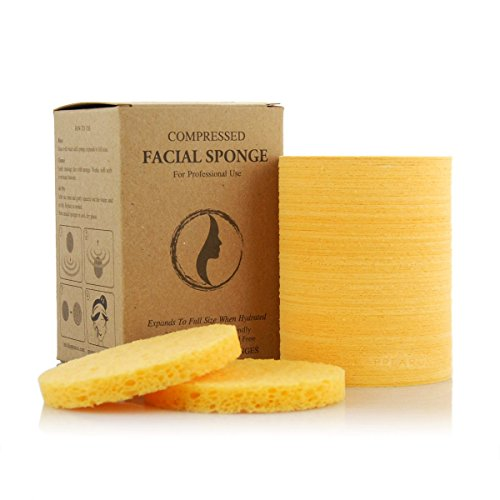 Appearus Compressed Natural Cellulose Facial Sponges, Natural, Made in USA (US Made/100 Count/S1901Y)
