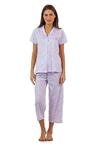 Ladies Pj Set (Casual Nights Lace Trim Women's Short Sleeve Capri Pajama Set - Spring Purple - Large)