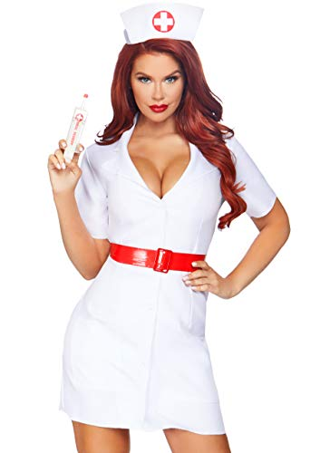 Leg Avenue Women's 2 Pc TLC Nurse Costume, White, Medium -