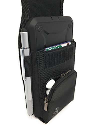 Rugged Nylon Cell Phone Holster for iPhone 12, 12 Pro Max, 11, 11 Pro Max, Xs Max, Xr, 8 Plus with Armor Type Phone Case. Belt Clip Pouch with Velcro Closure, Zipper Storage, Card Slot. (BK/Velcro)