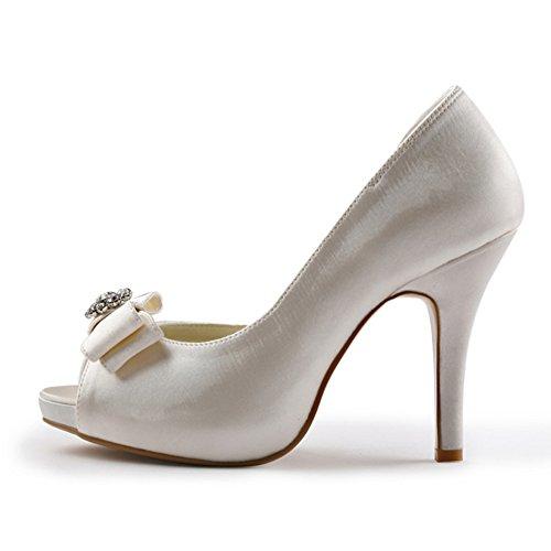 ElegantPark EP11045-IP Mujer Plataforma Peep Toe Tacón Aguja Arcos Satin Zapatos De Boda Novia beige