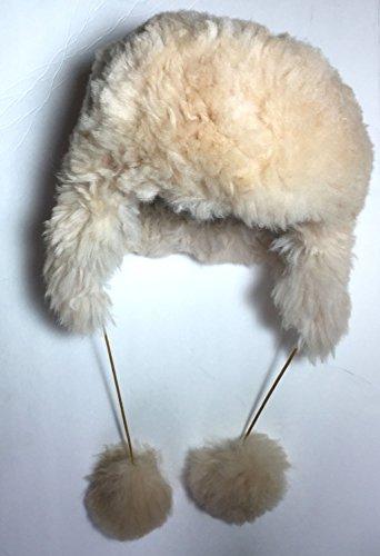 (HANDMADE Size 7 Wool Alpaca Beige Winter Unisex Russian Ushanka Earflap Hat)