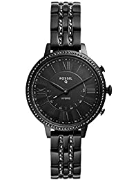 Q Women's Hybrid Smartwatch Watch with Stainless-Steel-Plated Strap, Black, 14 (Model: FTW5037)