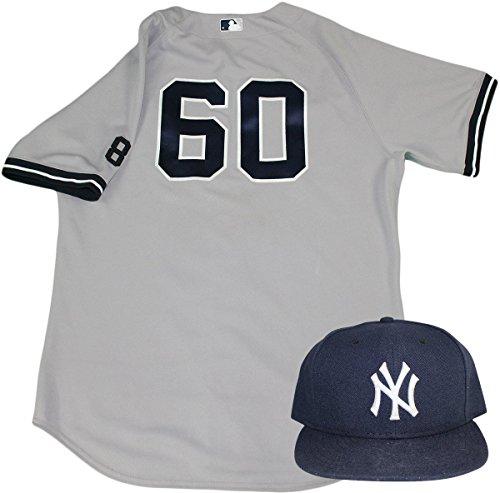 Derek Jeter Road Jersey - Gary Tuck Set - NY Yankees 2015 Game-Used #60 Road Jersey w/Yogi Berra #8 Commemorative Patch & Hat Set (10/4/2015)(HZ998992)