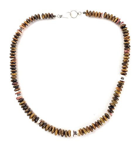 Masha Storewide Sale ! Sterling Silver Necklace By Tigers Eye Stone, Spiny Oyster, Made in USA - Exclusive Southwestern Handmade Jewelry, Gift by Masha