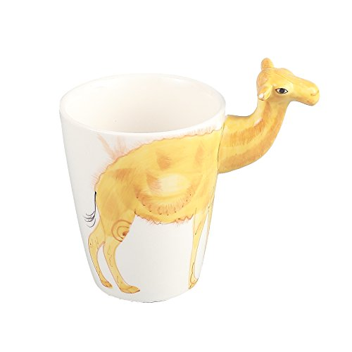Neolith 3D Cute Animals Ceramic Coffee Mug Camel Water Goblet Cup Novelty Drinkware Creative Design Interesting Coffee Mug Japanese Style Tea Cup Gold Coffee Mug for Kids Animal Lover (12.5 oz, Camel) by Neolith