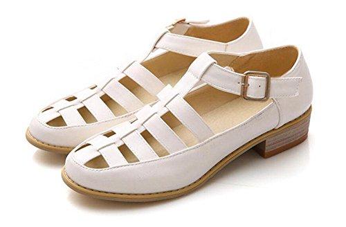 Pink Retro Woman Roman Blue White Shoes Sandals Pumps White GLTER Court qSAnxFwF