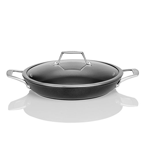 TECHEF - Onyx Collection, 12 inch Everyday Pan with Glass Lid, Coated with New Teflon Platinum Non-Stick Coating (PFOA Free), 12 inch, Black