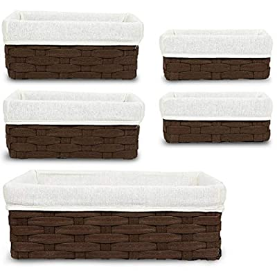 Wicker Basket, Decorative Storage Baskets (Brown, 5 Piece Set) - WICKER BASKETS: This set of 5 wicker baskets are the ideal utility and storage baskets that look great in any room and the varying sizes make this set versatile to store your supplies such as magazines, clothes, toys, craft supplies, linens, and school supplies PERFECT FOR: These baskets stack inside of each other allowing for convenient and easy storage when not in use and are convenient storage bins for drawers, shelves, closets, desks, and even the kitchen HIGH QUALITY: Made with quality woven material that is sturdy and durable along with soft cloth inside for a modern design - living-room-decor, living-room, baskets-storage - 41kUSTev8kL. SS400  -