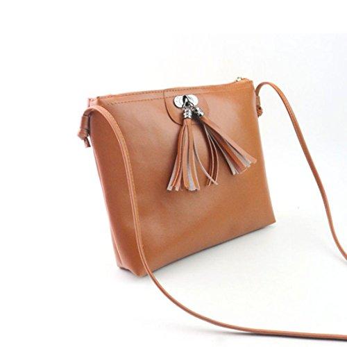 Bolsos Para mujer, RETUROM Nueva mujer borla bolso bandolera para el estudiante marrón