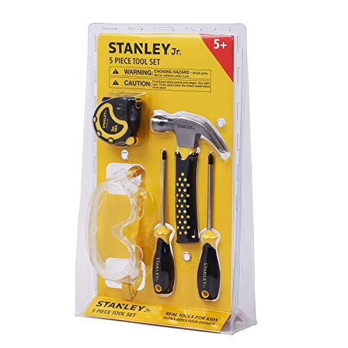 Stanley Jr. 5-Piece Kids Tool Set with Real Tools for Kids - Construction Tools for Pretend Play or Actual Woodwork Activities